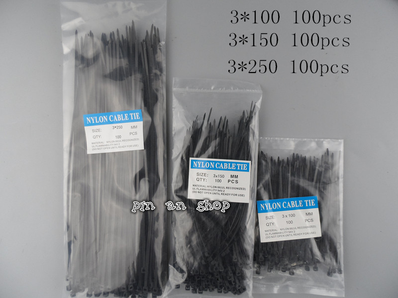 300pcs Nylon Cable Ties set inculdes 3sizes 3*100 3*150 3*250 Black Color National Standard Self-locking Plastic Wire Zip Tie