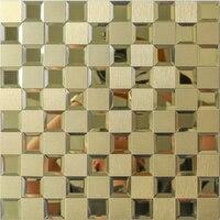 Wholesale Homey Mosaic KTV Gold 3D Wall Sticker Waterproof Wall Stickers Home Decor Living Room 30CM Aluminum Alloy Glass Mosaic