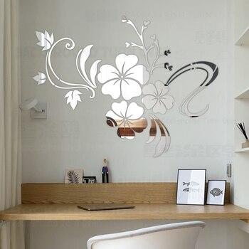 Heißer verkauf DIY frühling natur hibiscus blume spiegel dekorative wand aufkleber home decor 3d wand dekoration wohnzimmer aufkleber wandbild R076