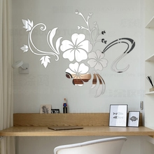 Hot sell DIY spring nature hibiscus flower mirror decorative wall sticker home decor 3d wall decoration room decals mural R076