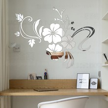 Hot sell DIY spring nature hibiscus flower mirror decorative wall sticker home decor 3d wall decoration room decals mural R076(China)