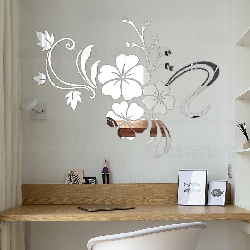 Venda quente DIY primavera natureza flor de hibisco espelho decorativo adesivo de parede decoração da parede da sala decalques mural home decor 3d R076