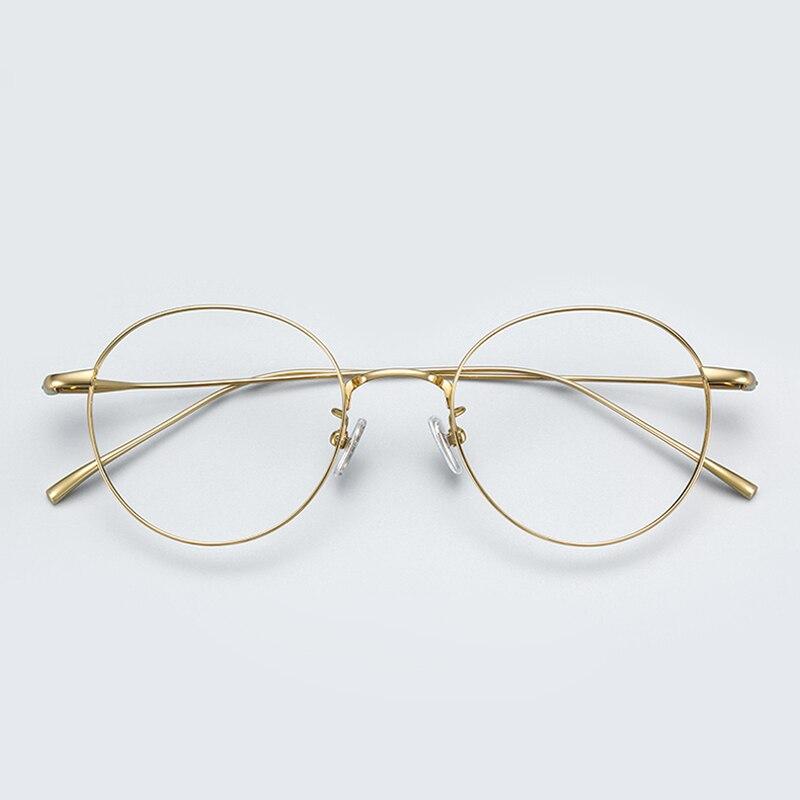 High Quality Titanium Pure IP Plating Material Men and Women Eyeglasses Frame Round Full Rim Hand