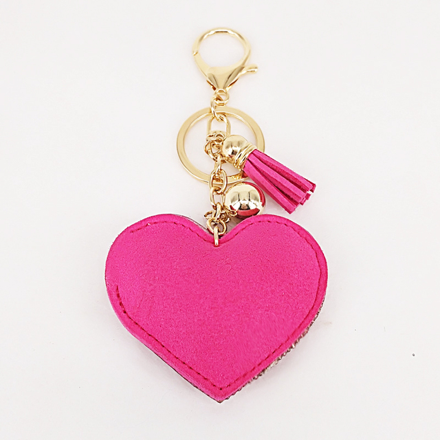 New Lovely 6Colors Double Hearts Keychain Tassel Pendants Fashion Gifts Key Chains Personalized Handbag Decorative Supplies 5