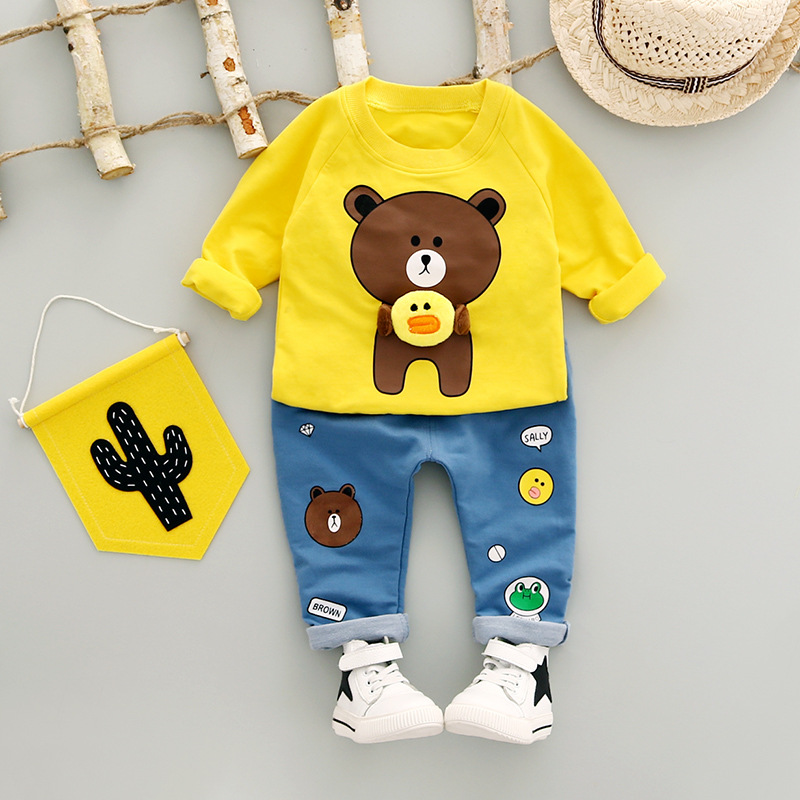 2017 new baby boys clothes Autumn Long sleeves Kids Clothes Sets cute bear boy T-shirt + jeans Newborn clothes baby clothing set 2pcs baby kids boys clothes set t shirt tops long sleeve outfits pants set cotton casual cute autumn clothing baby boy
