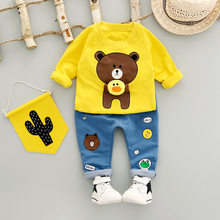 2017 new baby boys clothes Autumn Long sleeves Kids Clothes Sets cute bear boy T-shirt + jeans Newborn clothes baby clothing set(China)