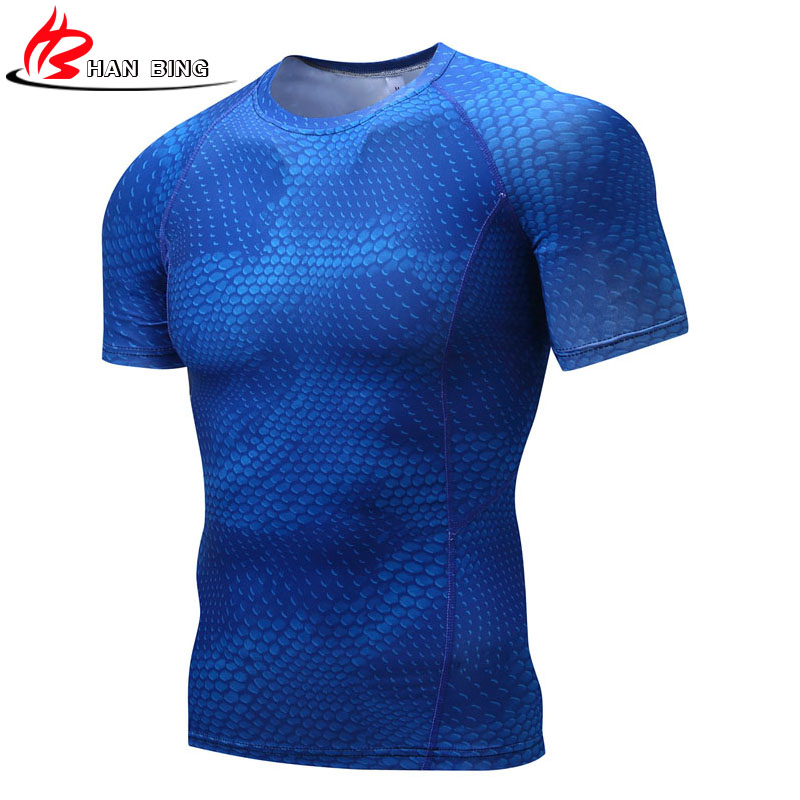 Mens Fitness 3 D Prints Short Sleeves T Shirt Men Bodybuilding Skin Tight Thermal Compression Shirts Crossfit Workout Top Gear