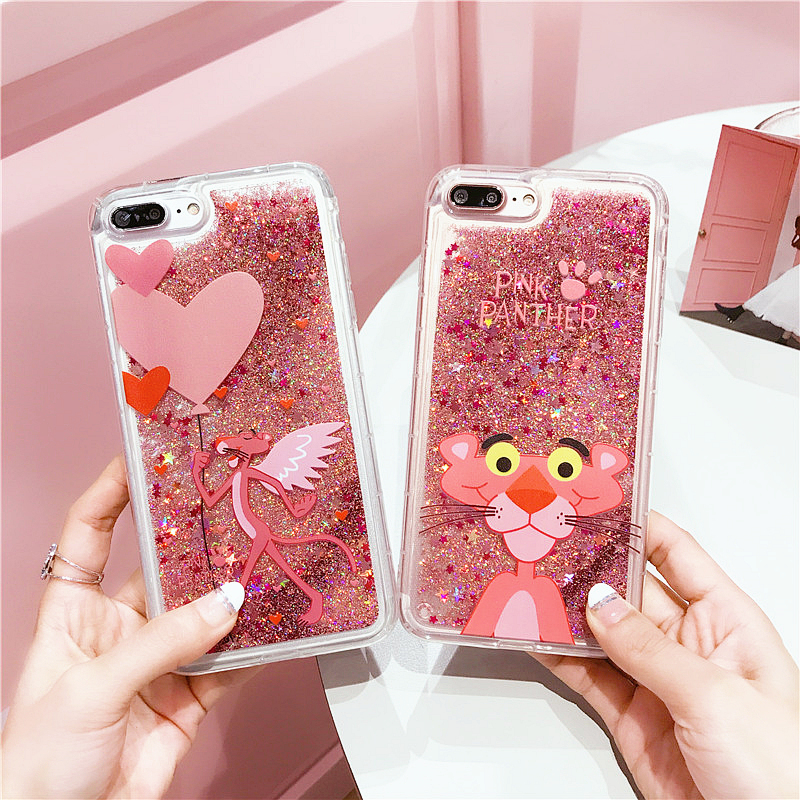 EMIUP Cute Pink Panther Animals Glitter Dynamic Liquid Quicksand Phone Case For IPhone 6 6s Plus Cases For Iphone 7 8 Plus Case