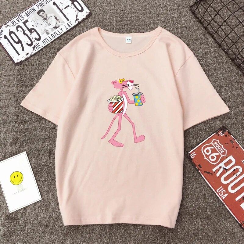 Cute pink panther drinking t shirt black white pink color cotton top punk  retro korean jungkook fashion one direction tee shirt T-Shirts  - AliExpress