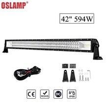 Oslamp 42inch 594W Tri-Row Straight LED light bar Chips Led Work Light Combo Beam 12v 24v Truck SUV 4WD 4×4 Offroad Led Bar