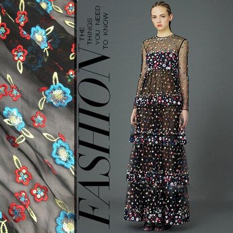 Mousseline de soie paillettes couleur floral broderie dentelle tissu qipao robe personnalisé bricolage tissu