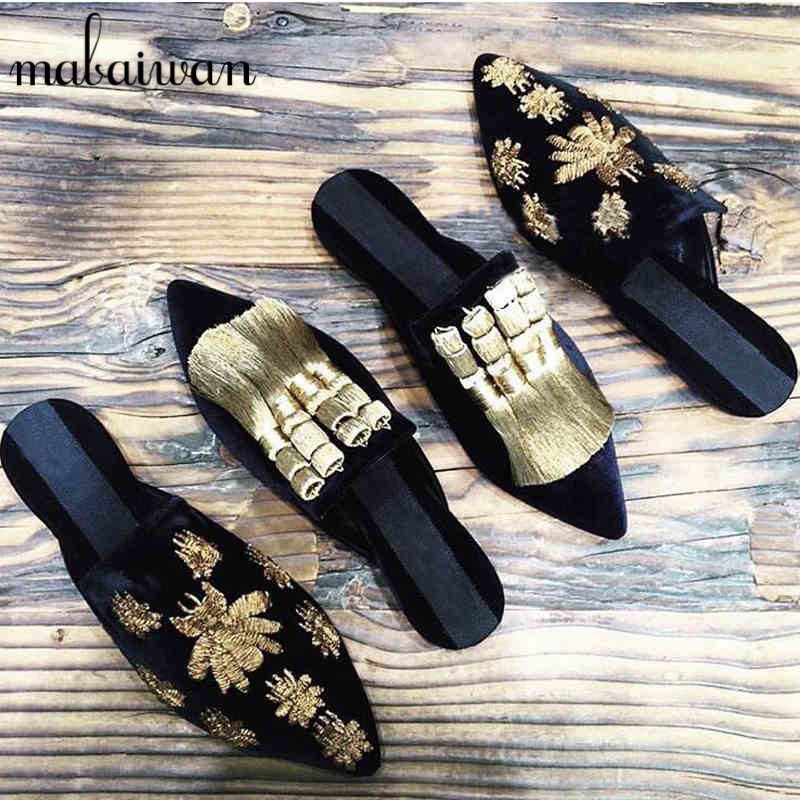 ФОТО Fashion Design Velvet Women Slippers Gladiator Sandals Summer Casual Flat Shoes Woman Pointed Toe Slides Beach Shoes Loafers
