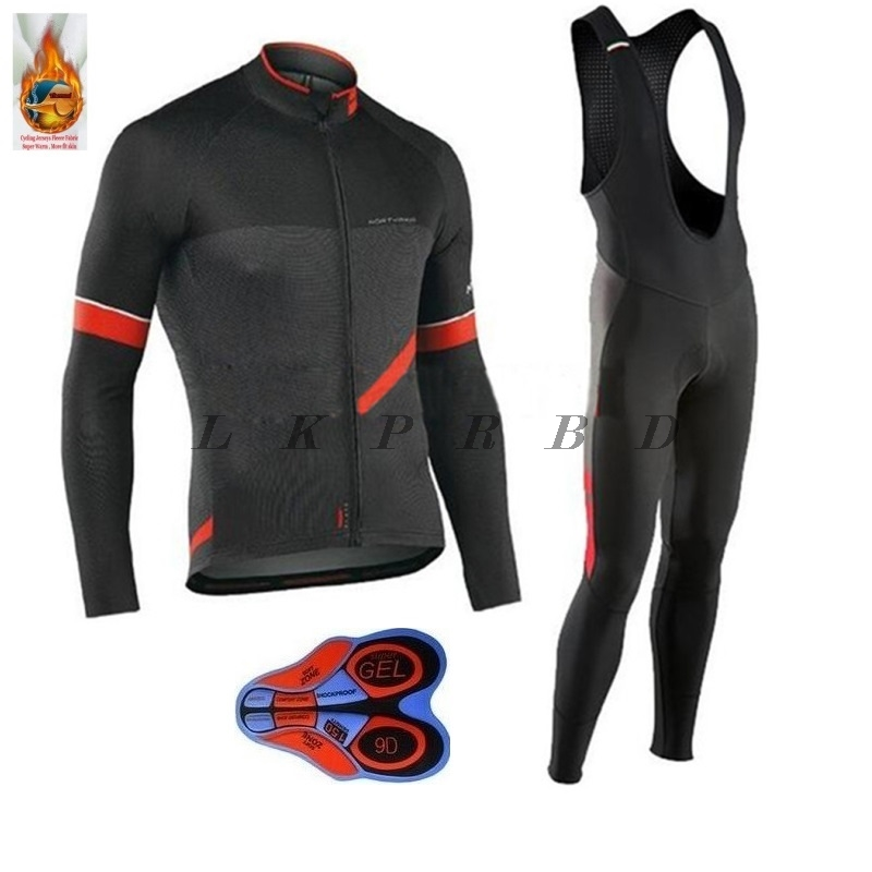 2018 NEW!!! NW winter Thermal Fleece cycling jersey long sleeve men with pants cycling sets bike wear cycling 9D gel 21 colors