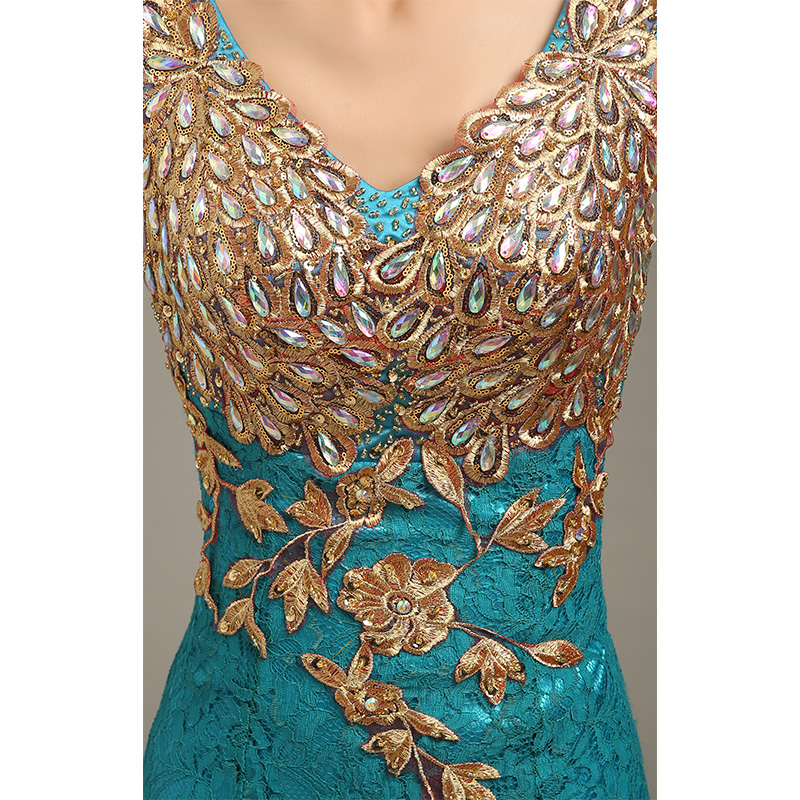 Robe de soirée 2019 col en v perlée longue avec Appliques robes de soirée sirène robes de soirée vestido de festa robes de bal robes de soirée - 5