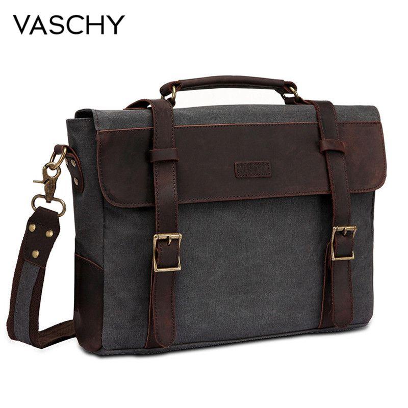 VASCHY Men Vintage Briefcase Genuine Leather Canvas Messenger Bag for Men Business Shoulder Bag Fits 14