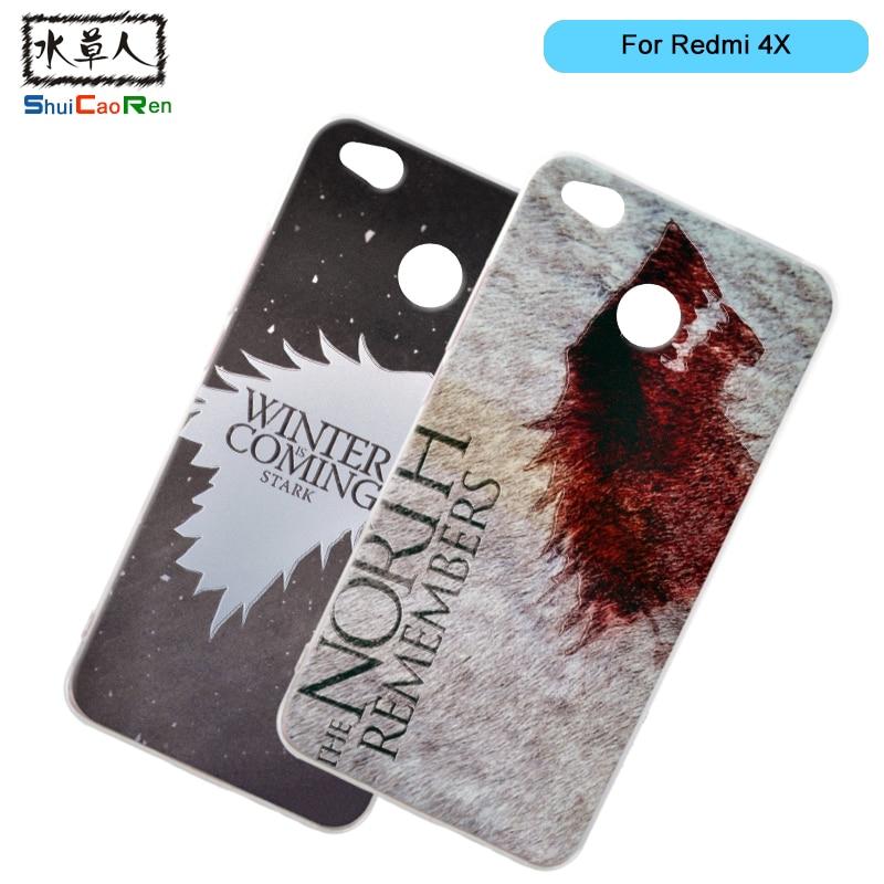 ShuiCaoRen Silicone Cases For Xiaomi redmi 4X Case Game of Thrones Black Shell For Xiaomi redmi 4X Cover