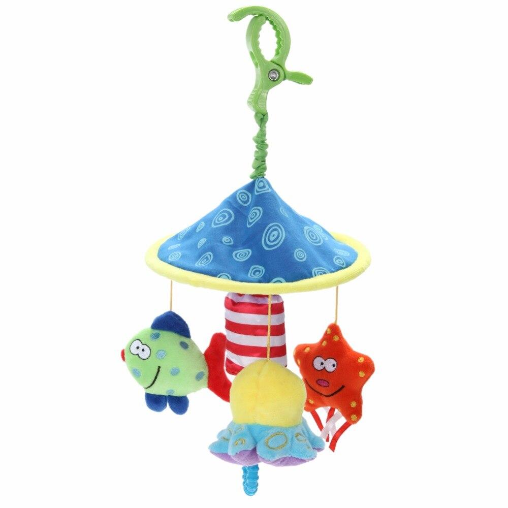 1 satz Baby Rassel Spielzeug Neugeborenen Babys Kinderwagen Hängen Glocke Cartoon Krippe Weiche Plüsch Spielzeug Fisch Seesterne Tintenfisch Souding Rassel spielzeug
