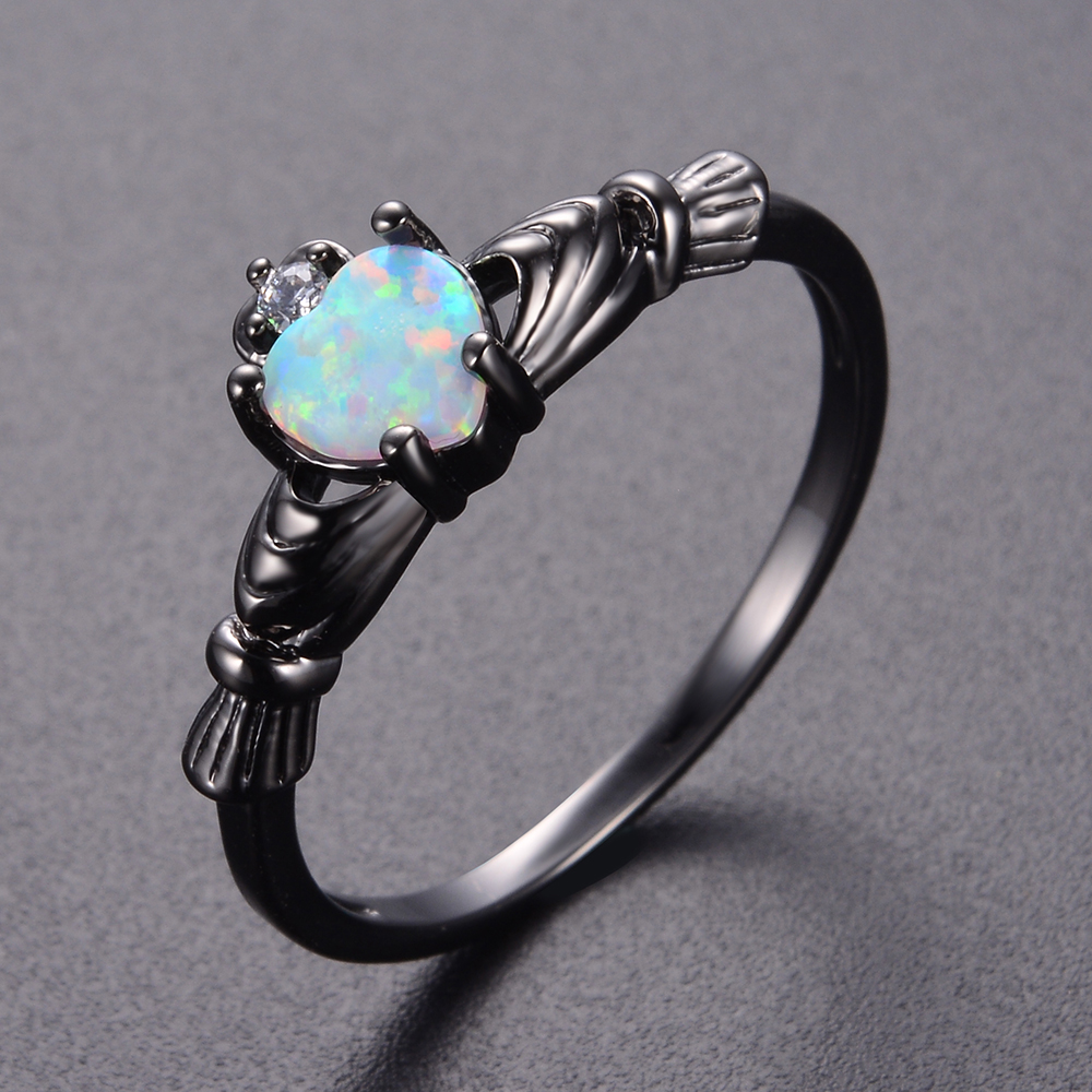 KNOCK  high Charming Heart Shape Fire Opal Rings For Women Wedding Band Vintage Black  Filled White  Ring charming faux pearl embellished heart shape ring for women