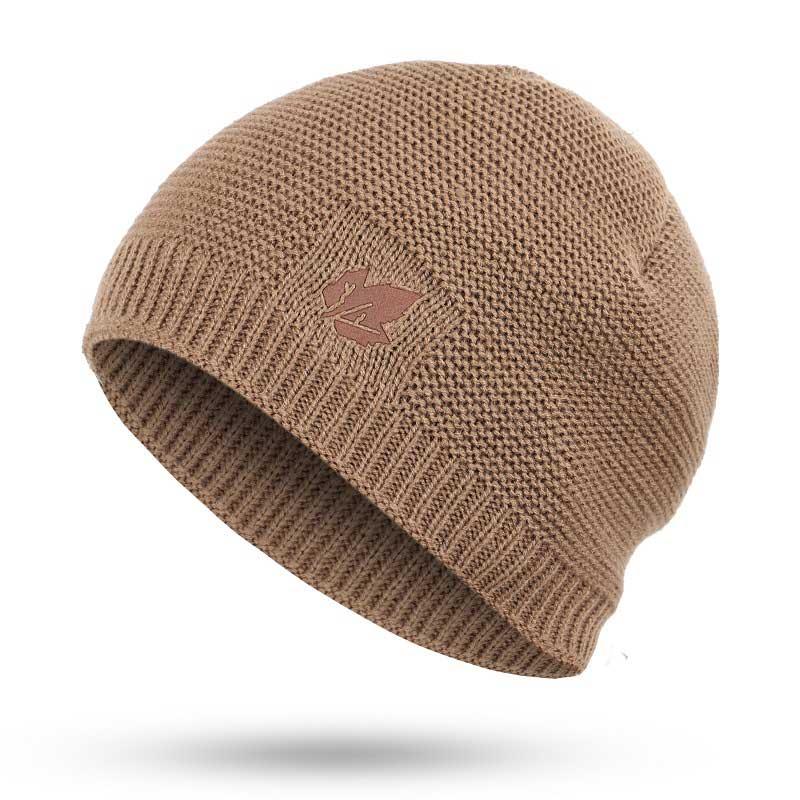 Зимние мужские вязаные шапки, шарф, уличные теплые бархатные унисекс новые модные трендовые брендовые шапки кленовый лист, кожаный Стандартный комплект для мужчин - Цвет: Khaki B