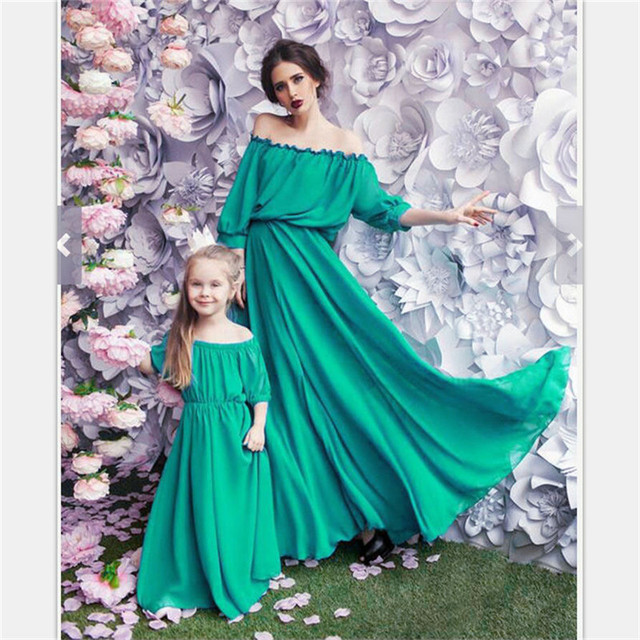 f8d6c53723634 US $8.99 9% OFF|LILIGIRL Long Mother Daughter Dress 2019 Mommy and Me  Wedding Princess Dresses Mom and Daughter Family Matching Clothes  Outfits-in ...
