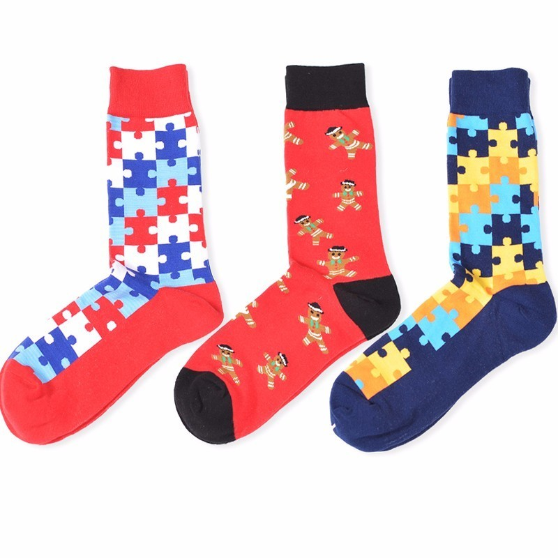 PEONFLY Pattern Tide Brand With Fund Geometric Figure In Stockings Hit Color Full Cotton happy funny mens Socks 3PAIRS/LOT