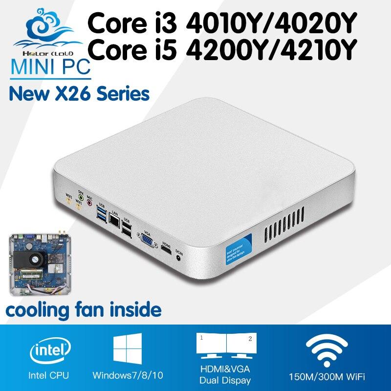 Mini PC Barebone Cooling Fan Mini Computer Desktop Win 10 Core i3 4010Y 4020Y i5 4200Y
