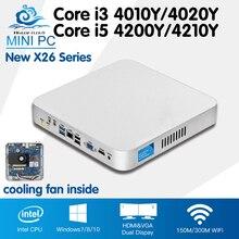 Мини-ПК Barebone Вентилятор охлаждения мини настольный компьютер Win 10 Core i3 4010Y 4020Y i5 4200Y 4210Y Computador HD Графика HTPC ТВ коробка
