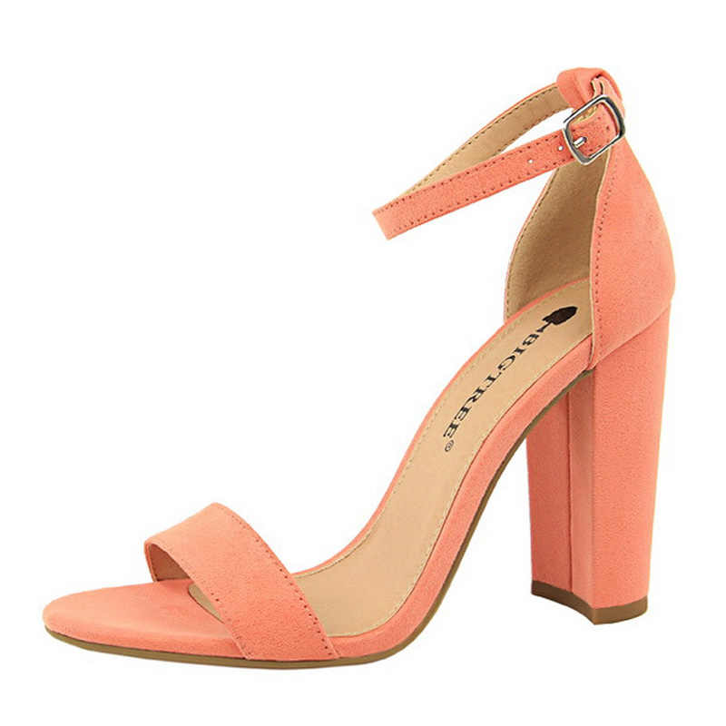 Bigtree Sepatu Panas High Heels Baru Wanita Pumps Buckle Wanita Sepatu Pesta Wanita Sepatu Pernikahan Sepatu Blok Tumit Sepatu Wanita 9.5 Cm