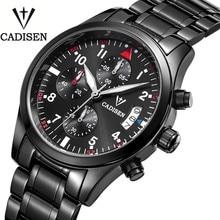 Cadisen Auto Fecha Reloj de Los Hombres de Acero Inoxidable Resistente Al Agua Reloj de Los Hombres Vestido de La Manera Diseño Ganador de Cuero de Negocios de Reloj de Cuarzo