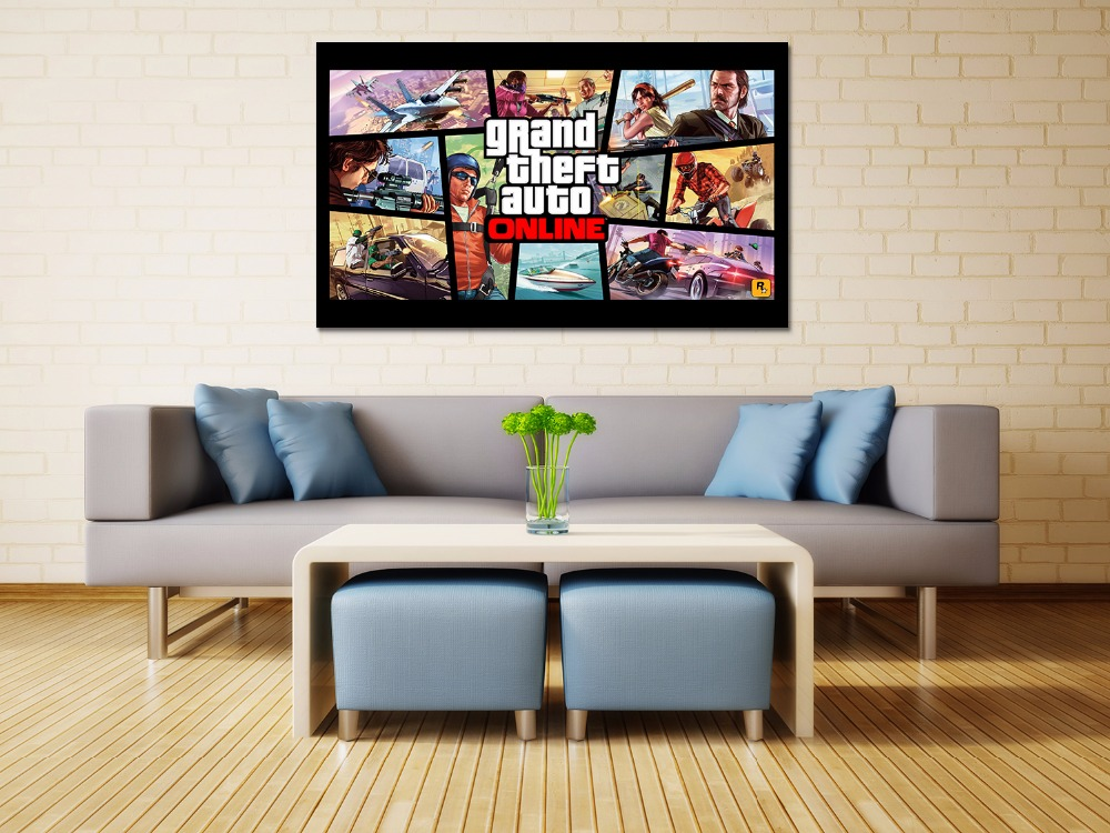 Canvas print painting Grand theft auto gta v 5 Game poster Modern Home Decor Wall art Pictures For Living Room No frame F1598
