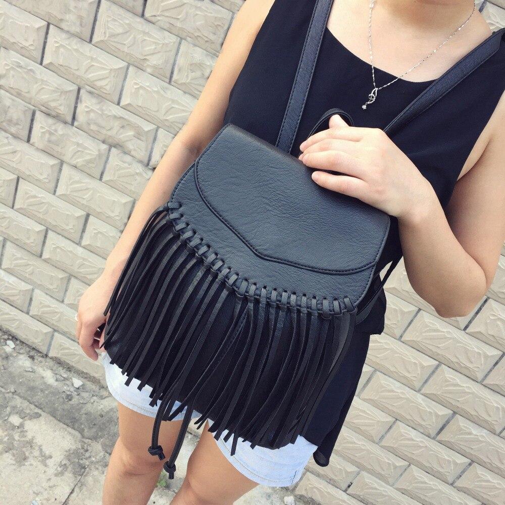 ФОТО 2016 Women's Leather Backpacks For Teenage Girls Black Tassel Backpack Pu Leather Women Backpack Vintage Fashion School Bag