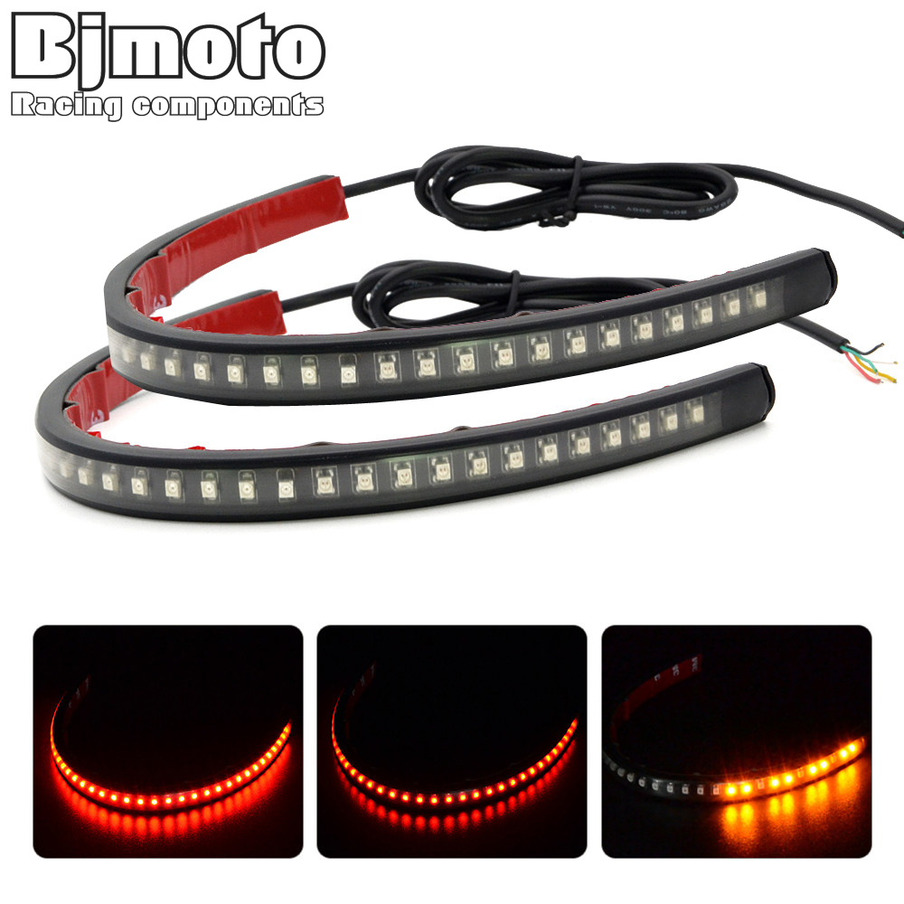 Pair Universal Flexible Motorcycle Light 3528 LED SMD Strip Motorcycle Car Tail Turn Signal Brake Light for ATV Truck SUV keyecu 60 tailgate led strip light bar truck reverse brake turn signal tail red white