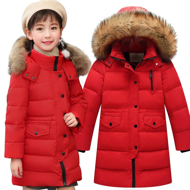 2017 Girls Winter Coat Chidren natural hair collar Long Jackets Kids Winter Duck down Jackets for Girls clothes kids Outerwear