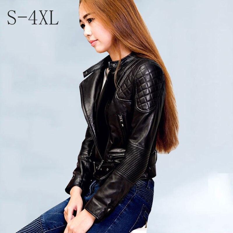 2018 Autumn Punk Leather Jacket Womem Top Pu Leather Short Paragraph Bomber Jackets Female Slim Waist Zipper Basic Jacket Ladies