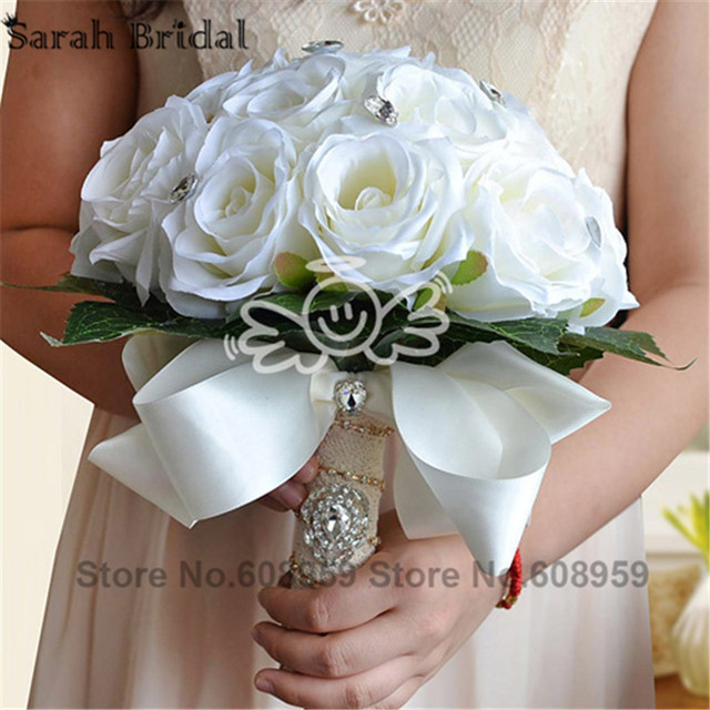 2017 Artificial Luxury Crystal Bridal Bouquets Wedding Decoration Elegant Bridesmaid Bouquets Bouquet De Mariage Casamento WF038