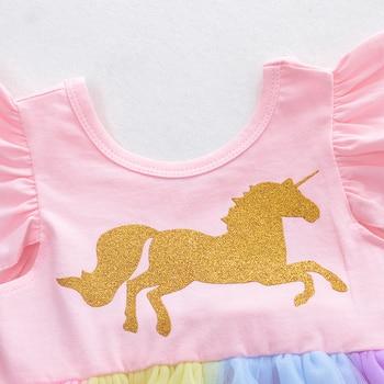 WeLaken Girls Princess Romper Gold Horse Patchwork Dress Baby Colorful Gauze Clothing Kids Fashion Clothes Girls Romper Dress