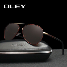 OLEY Brand Fashion Classic pilot Sunglasses Men Polarized Unique temple design HD lens Driving fishing strong light UV400 goggl