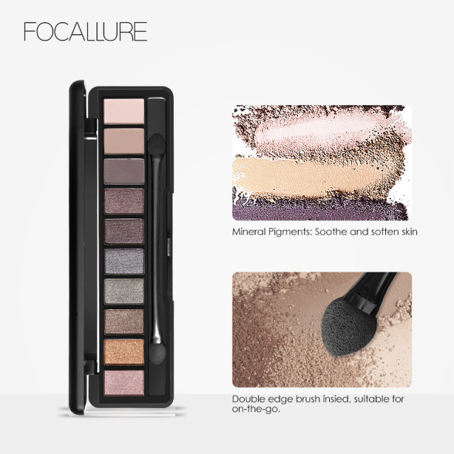 Focallure 10Pcs Makeup Palette Natural Eye Makeup Light Eye Shadow Makeup Shimmer Matte Eyeshadow Palette Set 3