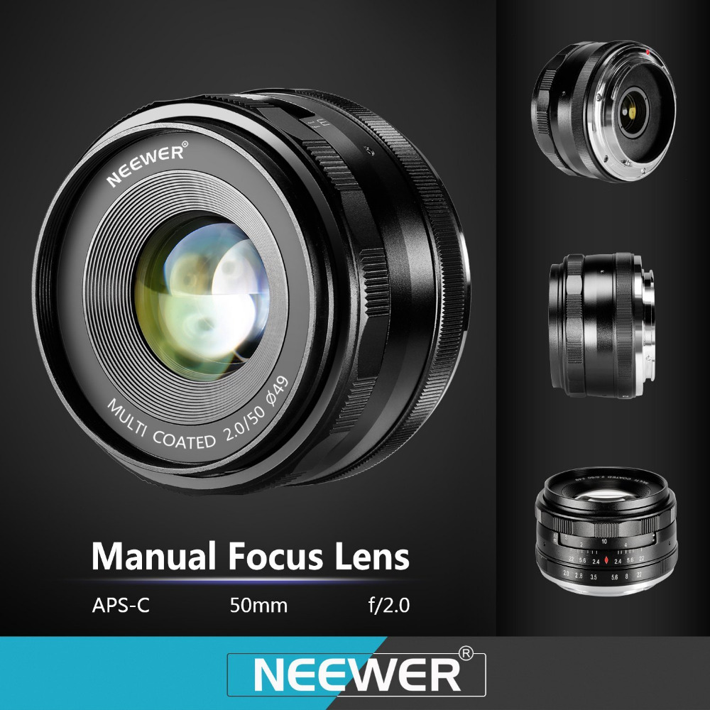 Neewer 50mm f/2.0 Manual Focus Prime Fixed Lens for SONY E-Mount Digital Cameras As NEX3, 3N, A6100 and A6300 50mm f2 0 aperture manual focus lens aps c for eosm nikon1 m43 sony e mount nex3 5t 6 7 a5000 a6000 a6300 fuji xt1 camera