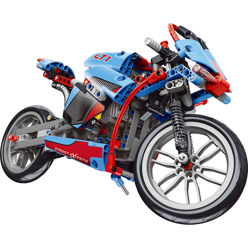 LELE Technic Motor Building Blocks Sets Harley Off-road Model Compatible with LegoINGLYS Motorcycle Toys for Children 375pcs