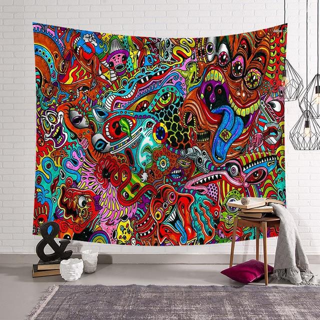 CAMMITEVER, pintura abstracta colorida, tapiz grande para colgar en la pared, toalla de playa, manta fina de poliéster, chal de yoga Mat