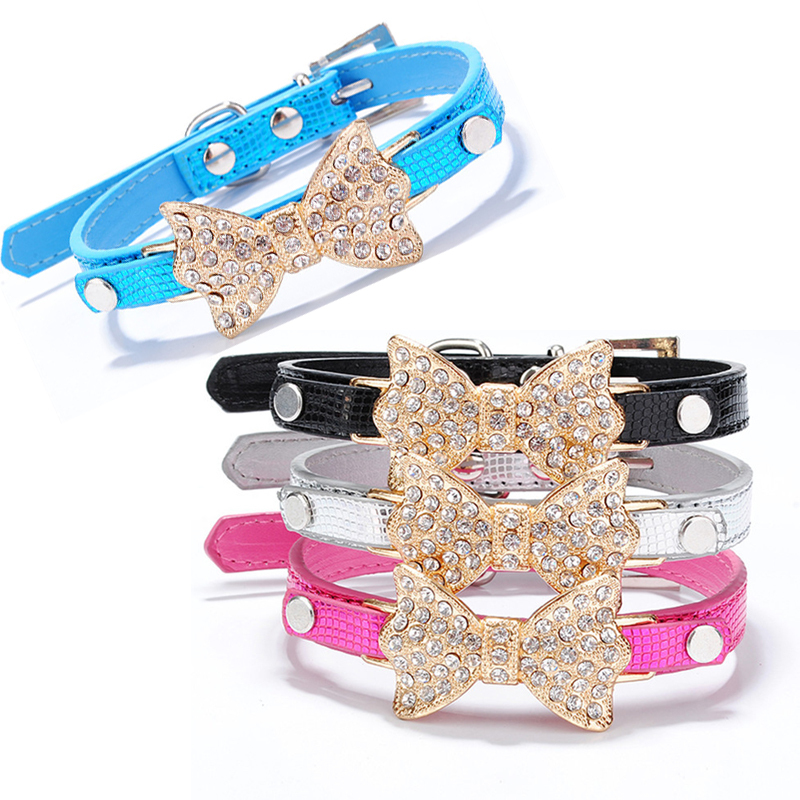 Rhinestone Bow Dog Collar For Dogs Leashes Leash Collars Cat Necklace Size XS S M 6 Colors