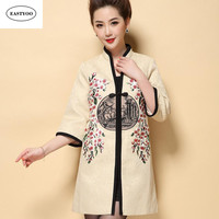 New Solid Color Embroidry Cape Coat Women Winter V Neck Straight Coat Single Breasted Half Sleeve