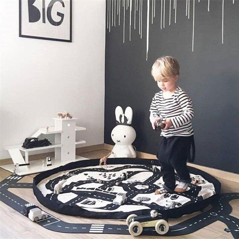 Baby Spielen Matte Spielzeug Road muster infant Tasche Matten Tragbare Kind Teppich Dreieck Spielen Matte Kleinkind Sammlung Storge Tasche