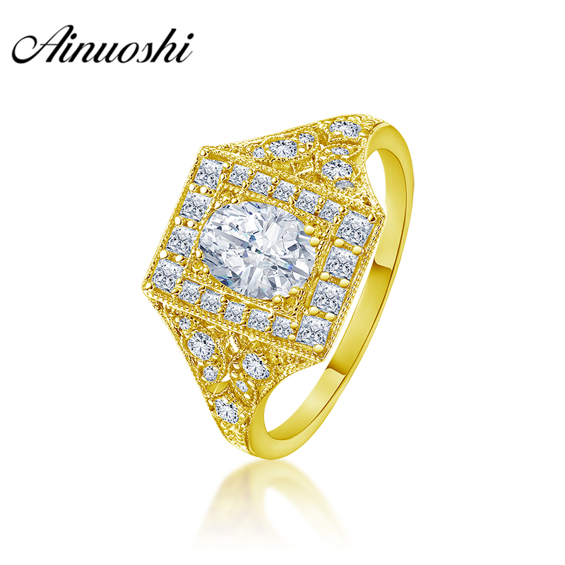 AINUOSHI Luxury 10K Solid Yellow Gold Men Band 1.25CT Oval Cut Halo Ring Engagement Wedding Male Jewelry 3.8g Wedding Men Band цена и фото