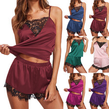 2019 New Pajama for Women Lace Silk Satin Sexy Sleepwear Sleeveless Strap Babydoll Nightwear Trim Satin Cami Top Pajama Sets D7 cheap dejorchicoco Polyester Solid Spaghetti Strap Spring Shorts Pajamas Boyshort Lace Patchwork Mid-Rise Broadcloth Unlined Adjusted-straps