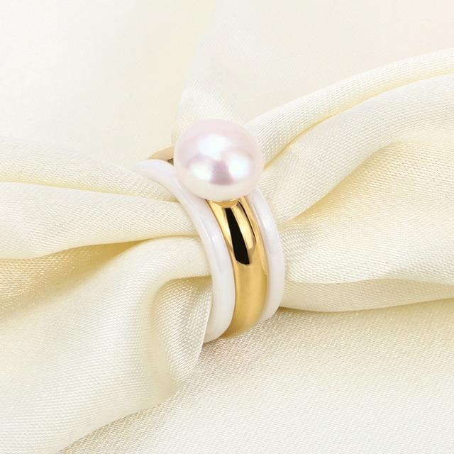 Nuovo Arrivo 3 pz/set 2 Bianco Anelli di Ceramica e Grande Perla Con Anello di Oro Gioelleria raffinata e alla moda Per Le Donne Bella Festa di Nozze gioielli