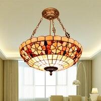 European Pastoral Mediterranean Sea Shell Pendant Light Living Room Counter Dining Room Hang Lamp Lamparas De Techo Colgante