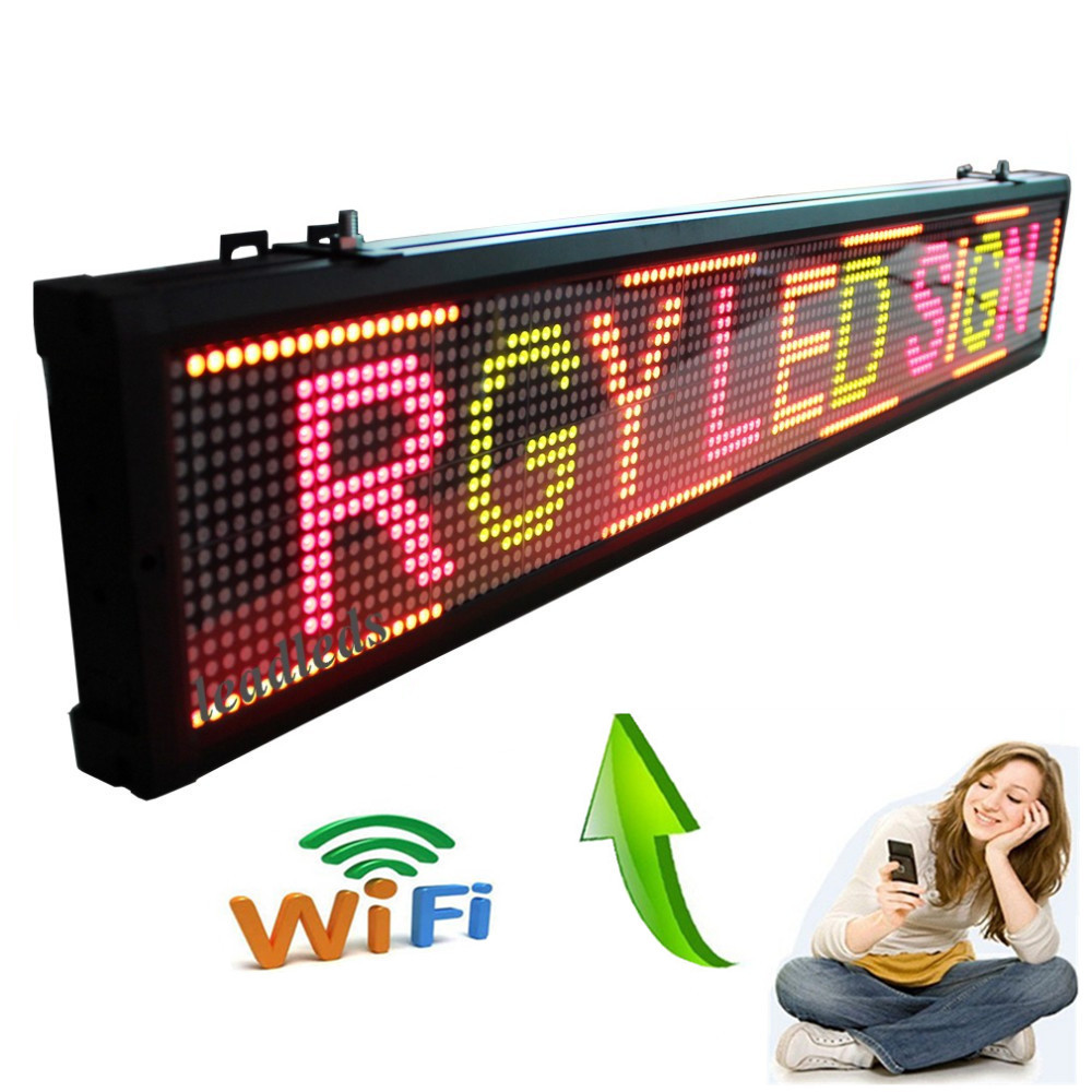 40 X  6.3inches WIFI Programmable Advertising LED Sign Board Pure Red, Green, Yellow 3 Color Scrolling Message Display