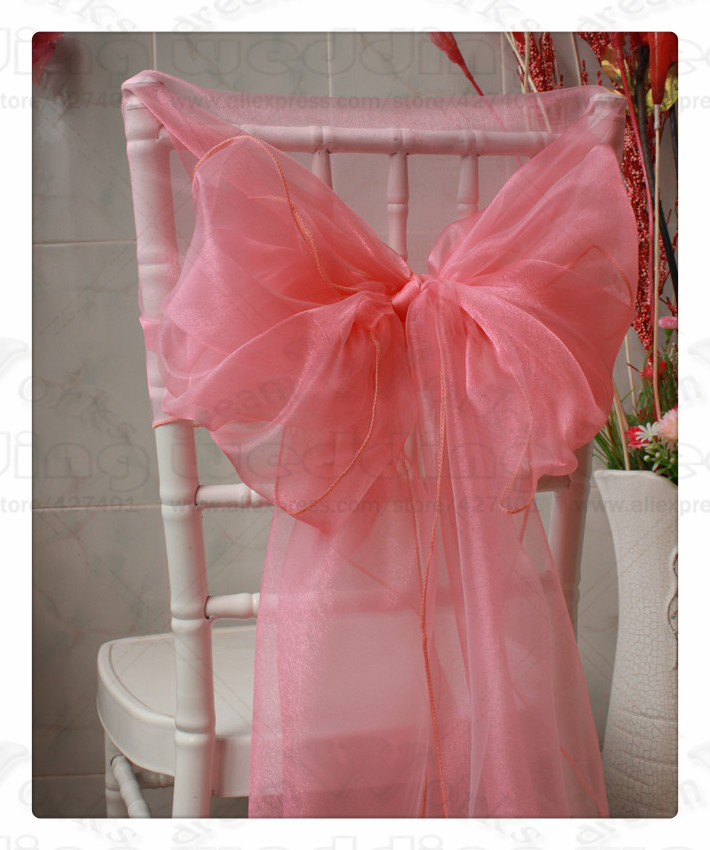 2/3--65x275CM 100PCS 61 Color Organza Chair Hoods/Chair Caps/Cover Sash For Wedding Event&Party&Home&Banquet Decoration Textile